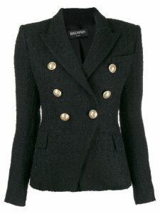 Balmain double breasted tweed blazer - Black