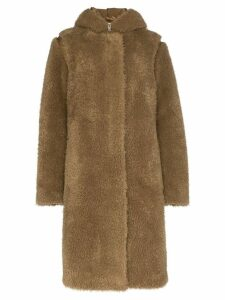 Helmut Lang double-layer faux fur parka coat - Green