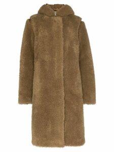 Helmut Lang double-layer faux fur parka coat - Green