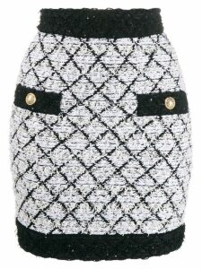 Balmain lattice tweed skirt - Black