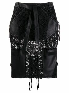 Philipp Plein lace inserts midi skirt - Black