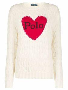 Polo Ralph Lauren logo heart print sweater - NEUTRALS