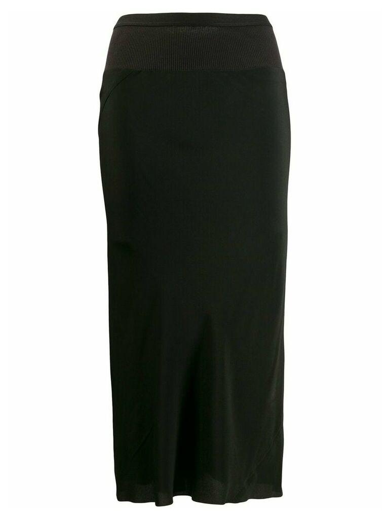 Rick Owens ribbed waist pencil skirt - Black