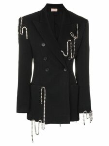 Christopher Kane crystal-chain tailored jacket - Black