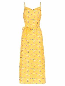HVN Josephine seagull print midi dress - Yellow