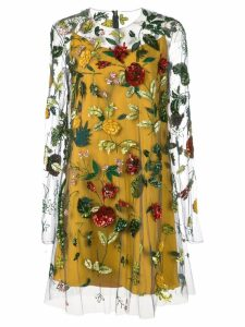 Oscar de la Renta sheer-styled dress with floral embroidery - Blue