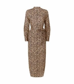 Cotton Leopard Print Shirt Dress