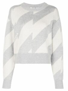 Proenza Schouler PSWL Broken Stripe Jacquard Crewneck Sweater - White