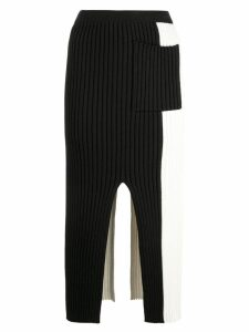 Proenza Schouler PSWL Colorblocked Ribbed Knit Skirt - Black