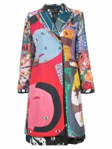 Comme Des Garçons cut-out back printed coat - Multicolour