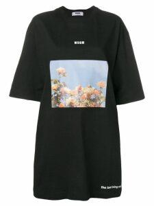 MSGM oversized graphic T-shirt dress - Black