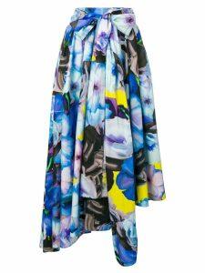 MSGM floral print asymmetric skirt - Blue