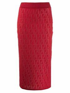 Fendi FF motif knit skirt - Red