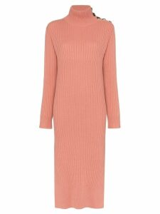 See By Chloé knitted roll-neck midi dress - Pink