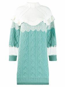 Fendi high collar knitted dress - Blue