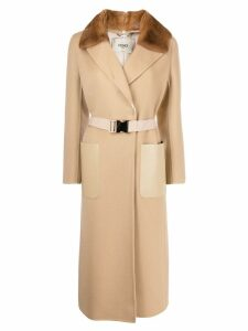 Fendi wrap style belted coat - NEUTRALS