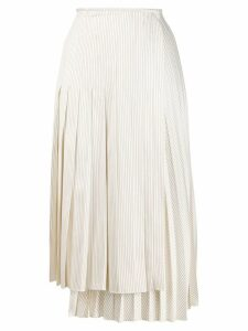 Fendi pleated striped skirt - White