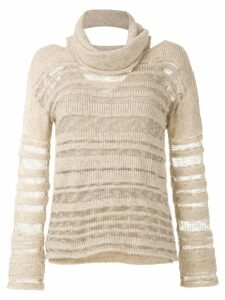 Mara Mac sheer stripes knit blouse - Neutrals