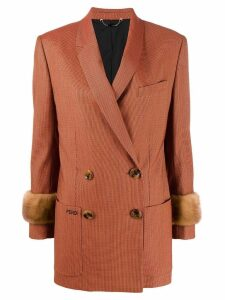 Fendi double breasted jacquard blazer - Orange