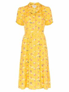 HVN Maria seagull-print dress - Yellow