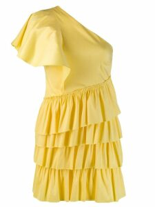 Marc Ellis one-shoulder ruffle dress - Yellow