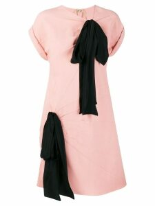 Nº21 contrast oversized ribbons dress - Pink