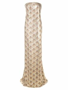 Oscar de la Renta strapless gown with fan embellishment - Gold