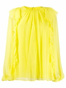 Emilio Pucci sheer ruffle blouse - Yellow