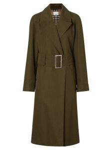 Burberry Side-slit Cotton Gabardine Belted Coat - Green