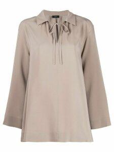 Joseph neck-tied flared blouse - NEUTRALS