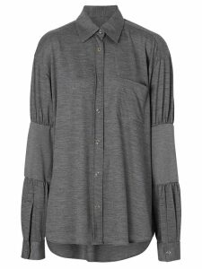 Burberry Panelled-sleeve Wool Shirt - Grey