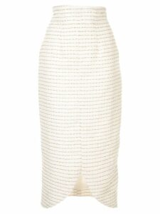 Bambah pinstripe pencil midi skirt - White