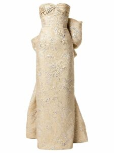 Bambah Juliet back bow pencil gown - Gold
