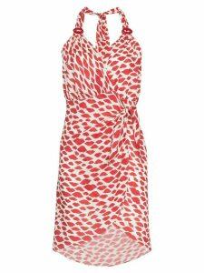 Adriana Degreas Bacio lip-print midi dress - Red