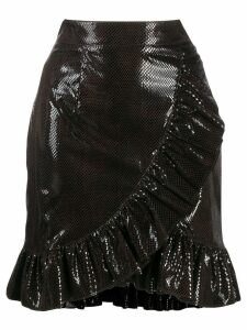 MSGM ruffled snakeskin-effect skirt - Black