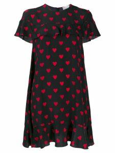 Red Valentino heart print ruffle shift dress - Black