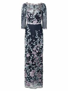 Marchesa Notte embroidered gown - Blue