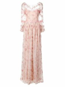 Marchesa Notte floral embroidered long dress - PINK