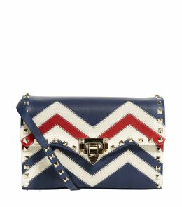 Small Leather Rockstud Chevron Cross Body Bag