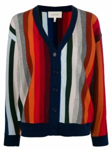 The Great. striped open front cardigan - Blue