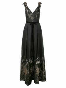 Marchesa Notte metallic finish full length dress - Black