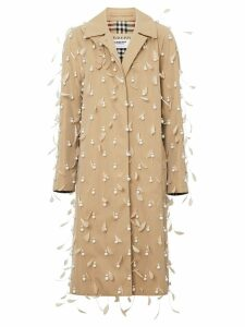 Burberry Embellished Cotton Gabardine Car Coat - NEUTRALS
