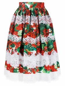 Dolce & Gabbana floral lace embroidered skirt