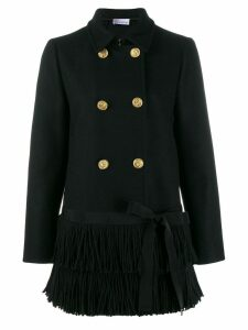 Red Valentino fringed hem peacoat - Black