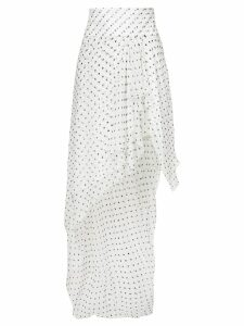 Alexandre Vauthier asymmetric spotted ruffled skirt - White