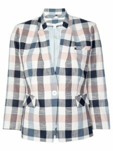 Veronica Beard single-breasted check blazer - Blue