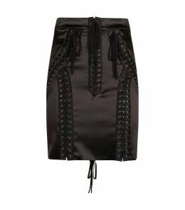 Lace-Up Eyelet Skirt