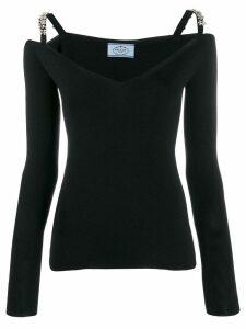 Prada floral crystal strapped jumper - Black