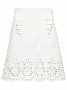 Miu Miu embroidered lace motif skirt - White
