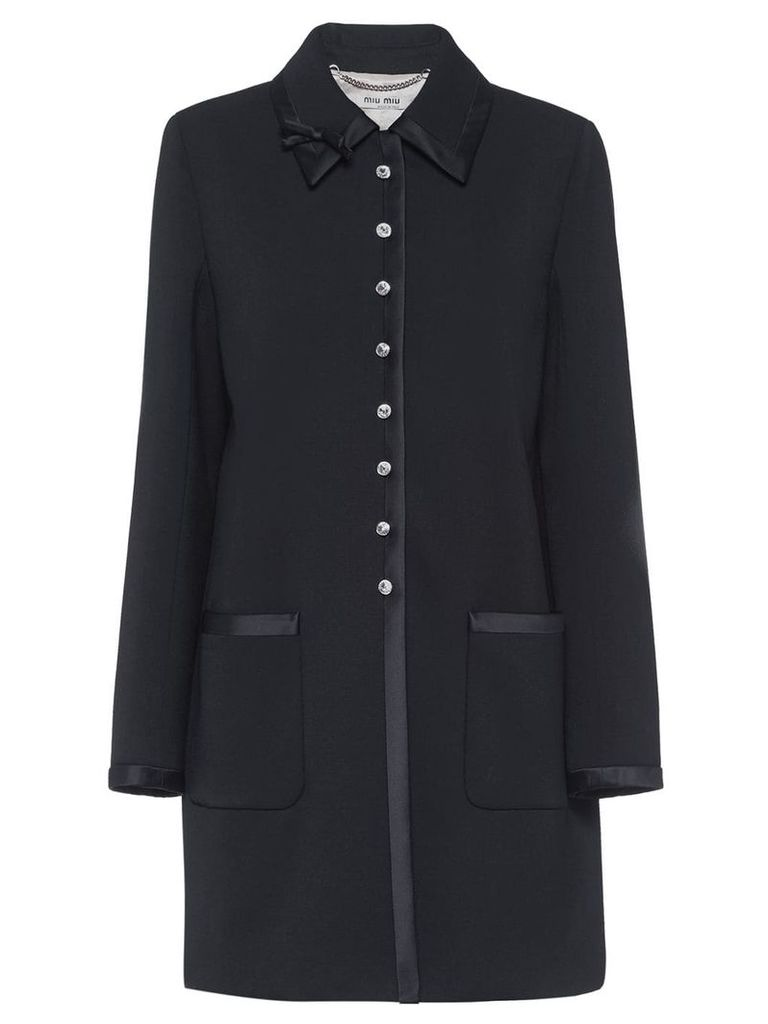 Miu Miu jewelled button coat - Black